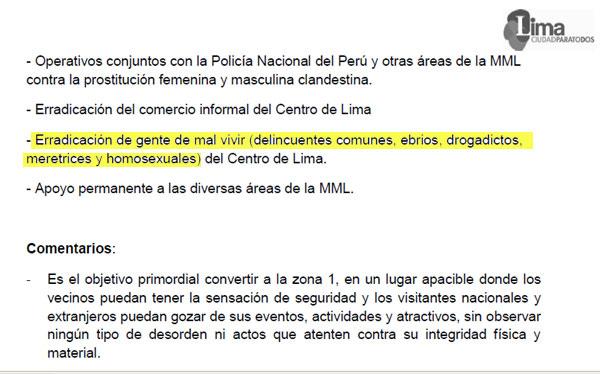 """Municipalidad de Lima pidió perdón por documento que dispone la """"erradicación"""" de homosexuales"""