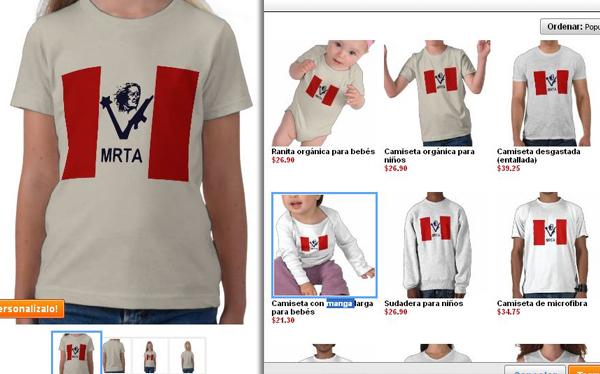 Ropa con el símbolo del MRTA se vende en Internet y genera indignación