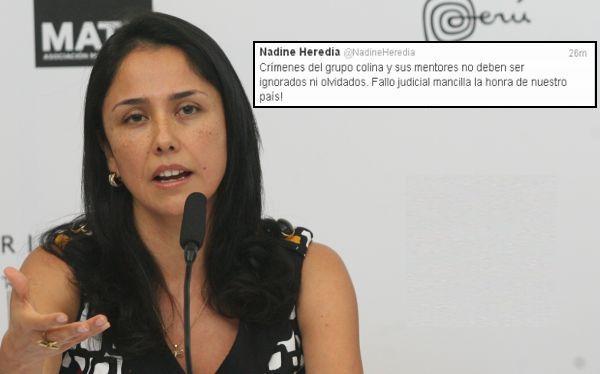 """Nadine Heredia: """"Reducción de pena al grupo Colina mancilla la honra del país"""""""
