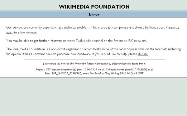 Wikipedia se cayó y afecta a millones de internautas en el planeta
