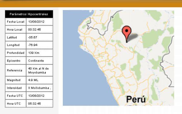 Sismo de 4,9 grados Richter se registró en Moyobamba