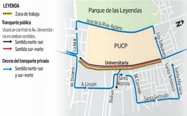Tránsito frente a la PUCP se restringirá por 60 días desde mañana
