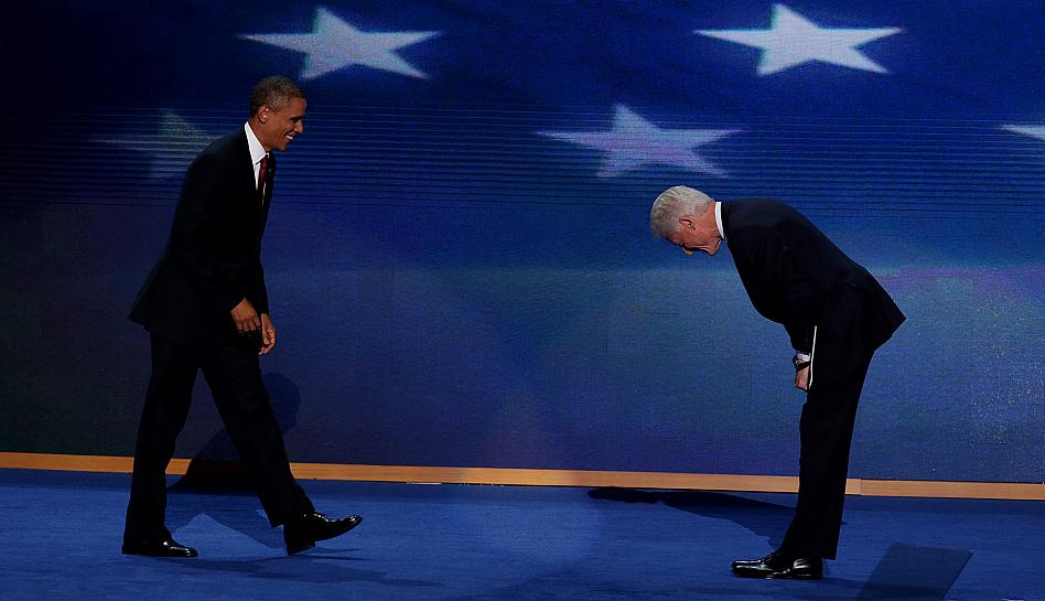 FOTOS: Obama irrumpió en la Convención Demócrata, luego de ser declarado candidato por Bill Clinton