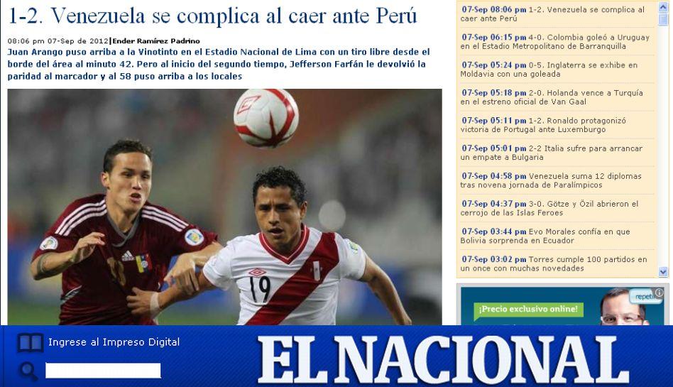 """Prensa venezolana se lamenta porque Perú """"le aguó la fiesta"""" a su selección"""