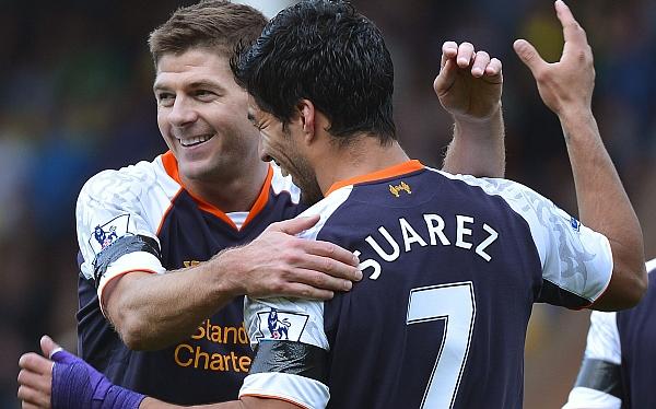 Luis Suárez marcó triplete en goleada 5-2 del Liverpool sobre Norwich