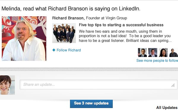 LinkedIn busca aumentar su uso con opción de seguir a personas influyentes