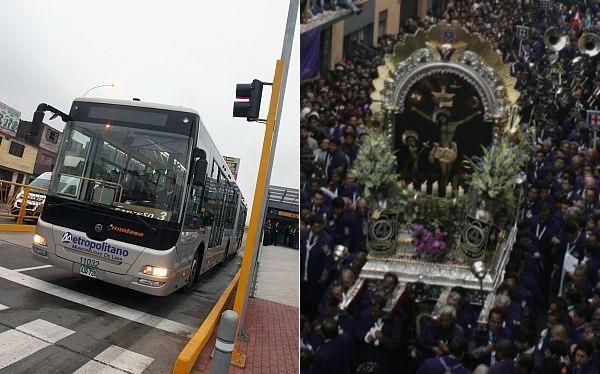 El Metropolitano desviará hoy sus rutas por procesión del Señor de los Milagros