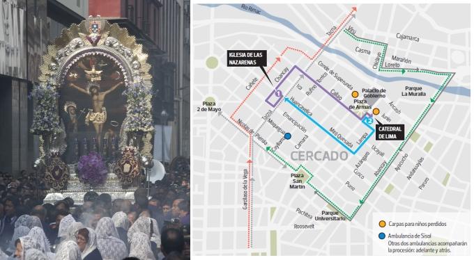 INFOGRAFÍA: el recorrido que realizará hoy el Señor de los Milagros por las calles de Lima
