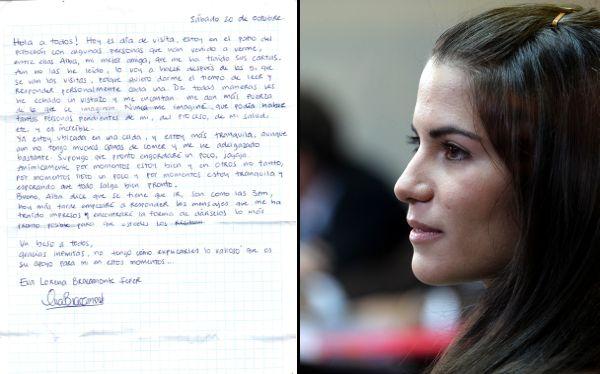 Desde la cárcel, Eva Bracamonte agradeció apoyo en una carta publicada en Facebook