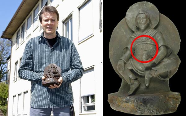La estatua budista con la esvástica esculpida en un meteorito resultó ser falsa