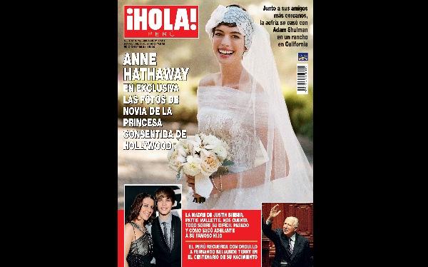 """Imágenes exclusivas de la boda de Anne Hathaway mañana en """"¡Hola! Perú"""""""