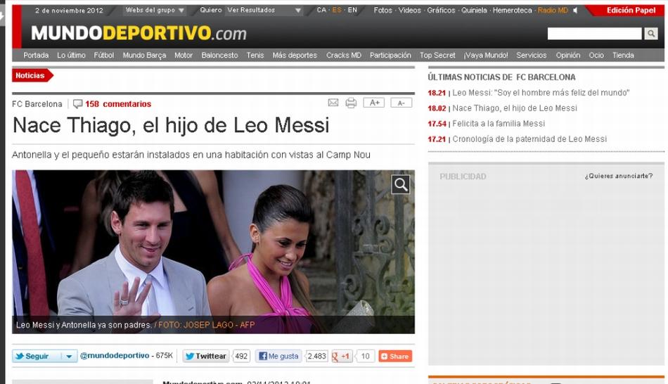 FOTOS: el nacimiento de Thiago Messi, el hijo de Lionel, en la prensa mundial