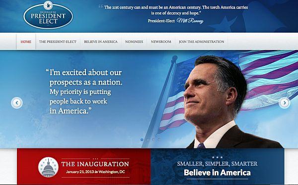 Equipo de Mitt Romney publicó página web donde ya se le daba por ganador