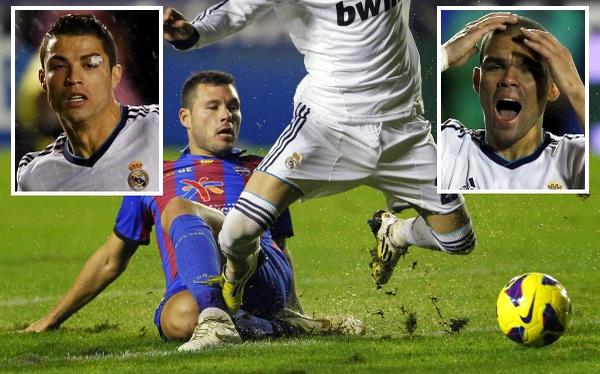 El Madrid-Levante terminó con Cristiano con el párpado roto y una gresca en el vestuario