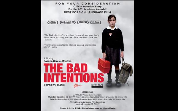 """Filme """"Las malas intenciones"""" se estrenará en Estados Unidos"""
