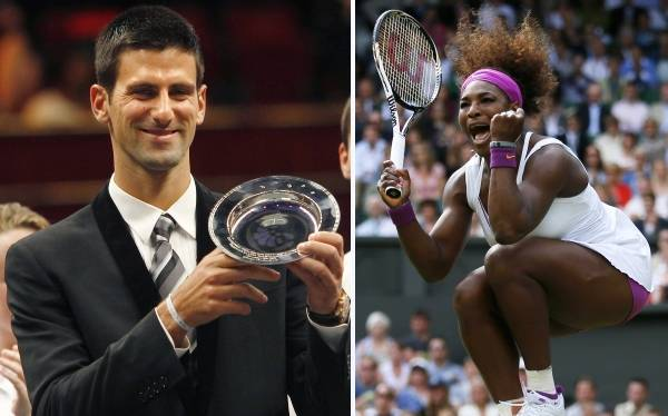 Novak Djokovic y Serena Williams, reyes del tenis del 2012