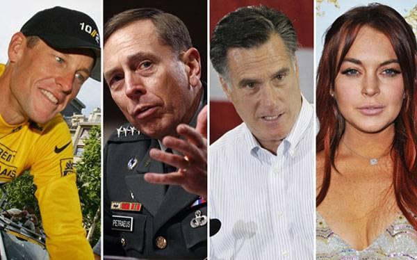 ¿Qué tienen en común Lance Armstrong, David Petraeus, Mitt Romney y Lindsay Lohan?