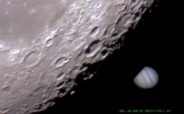 Impresionante video: la Luna ocultó a Júpiter en Navidad