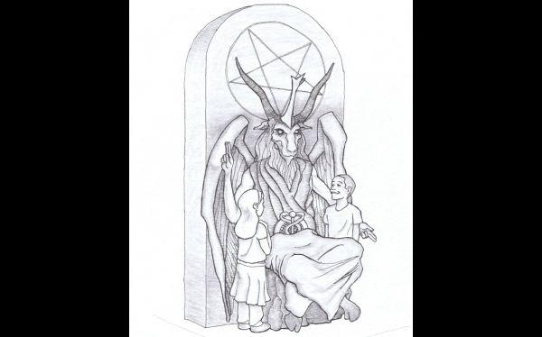 Este es el boceto de la estatua que los satanistas quieren colocar en Oklahoma. (FOTO AP)